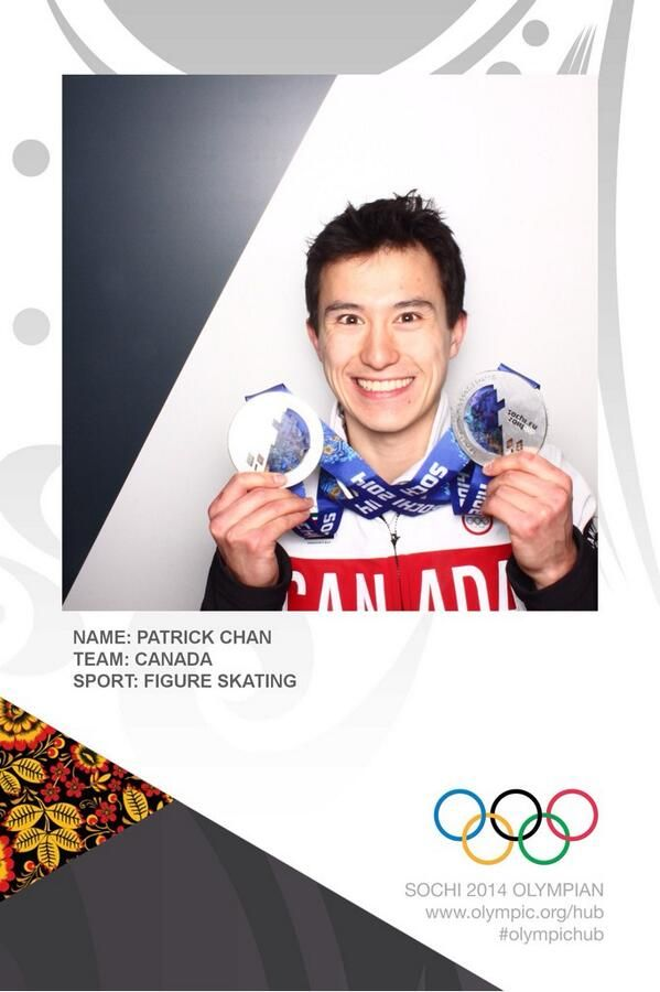 Patrick Chan in the Olympics photo booth, showing his two silver medals from the Sochi 2014 Olympic Winter Games.