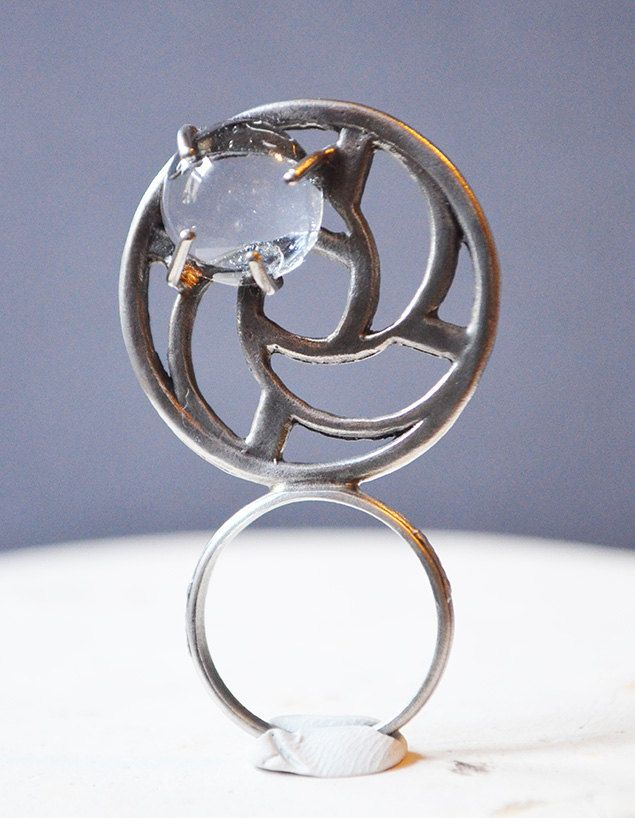 Ring Bubble Blowers : Bubble blower ring made with magnifying vintage glass cabs