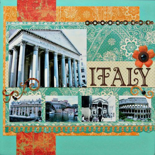 Italy scrapbook ideas. Venice, One big picture, more small
