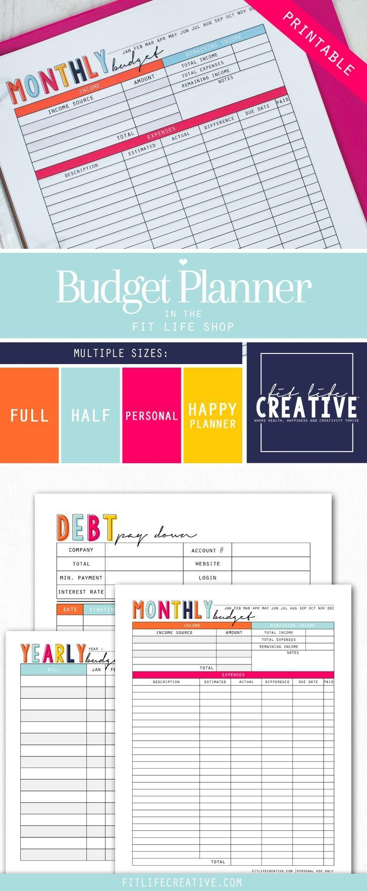 monthly budget planner printable
