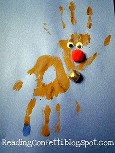 Handprint reindeer craft. A fun memento of sweet little kiddo hands before they grow up!