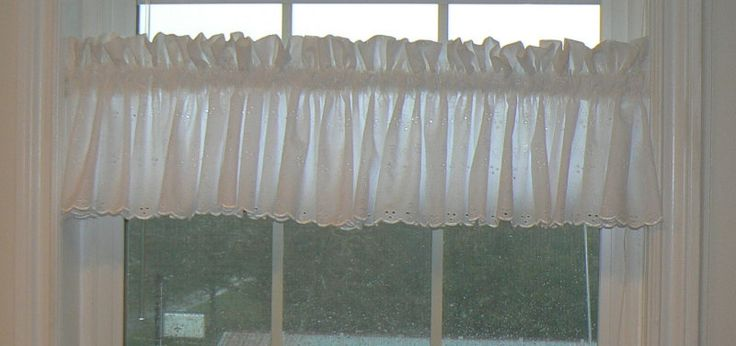 Custom White Embroidered Eyelet Scalloped Valance, Lace Curtain, Cottage Chic, Country Curtain, 100% Cotton, Eyelet by PhancyBitsnpieces on Etsy