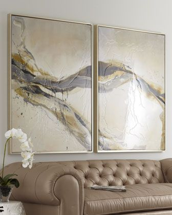 """""""Ascent"""" Giclees      Handcrafted giclees feature a swath of gray, gold, and ivory overlaid with textural details.  Wood frames.  Sold as a set of two; each, 41.5""""W x 2""""D x 54.75""""T.  Made in the USA.  $1400"""