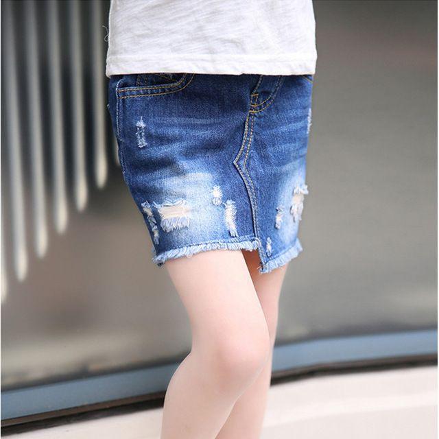 Новое поступление новорожденных девочек мода джинсовые юбки девушки мини-мило бутон юбка дети all-матч разорвал юбки с поясом