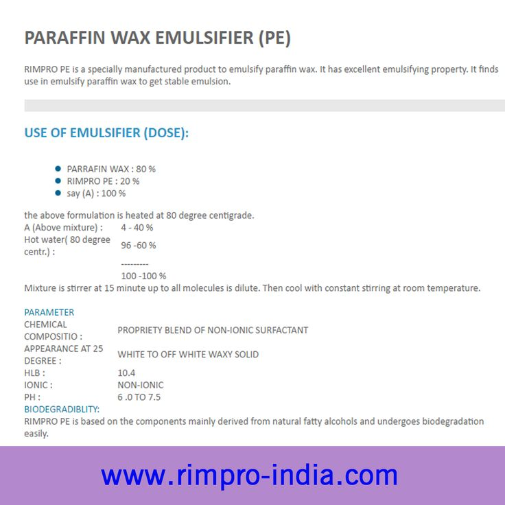 RIMPRO PAE is to be blended with the amino silicon oils ,paraffin oil and water is added to this emulsifiable concentrate under constant stirring to get stable milky emulsion. More Details, visit at http://www.rimpro-india.com/paraffin-wax-emulsifier.html.