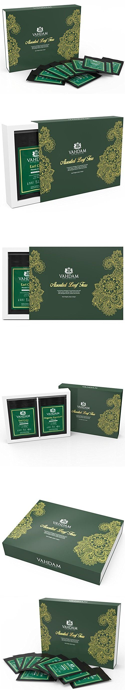 Assorted Loose Leaf  Tea , Tea Gift Set - 10  Exclusive Teas - Tea Gifts, Exotic Tea Selection, Black Tea, Green Tea, Oolong Tea, White Tea & Chai Tea - Individually Packed in a Tea Gift Box