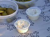 Ina Gardner Tarter Sauce  1/2 cup good mayonnaise  2 tablespoons small-diced pickles or cornichons  1 tablespoon Champagne or white wine vinegar  1 tablespoon capers  1 teaspoon coarse-grained mustard  Pinch kosher salt  Pinch freshly ground black pepper