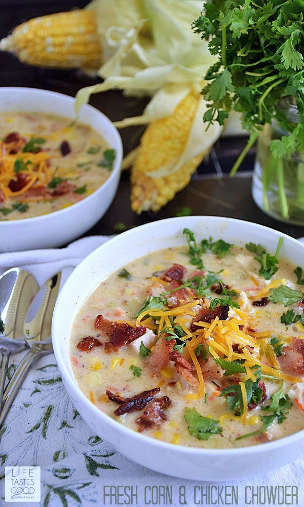 Fresh Corn & Chicken Chowder   by Life Tastes Good is perfect for summer! It is broth based with a little cream keeping it light and fresh.