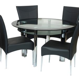 Hygena Black Glass Round Space Saver Table And Chairs