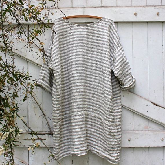 Striped Linen Beach Dress by MegbyDesign on Etsy
