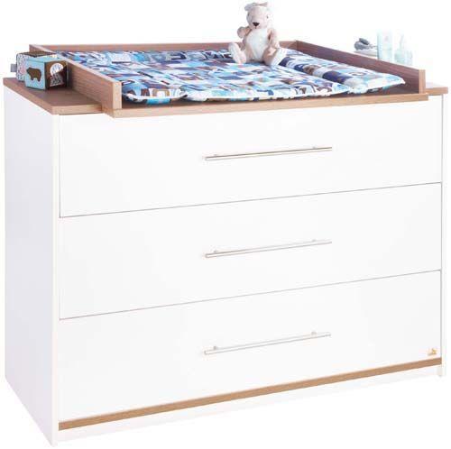 Skötbord - Byrå Tuula, träfiberskiva, vit och nötbrun laminat. Byrå med skötbord som sen kan tas bort, används sen som en vanlig byrå. Skötbord - Byrå som växer med barnet.