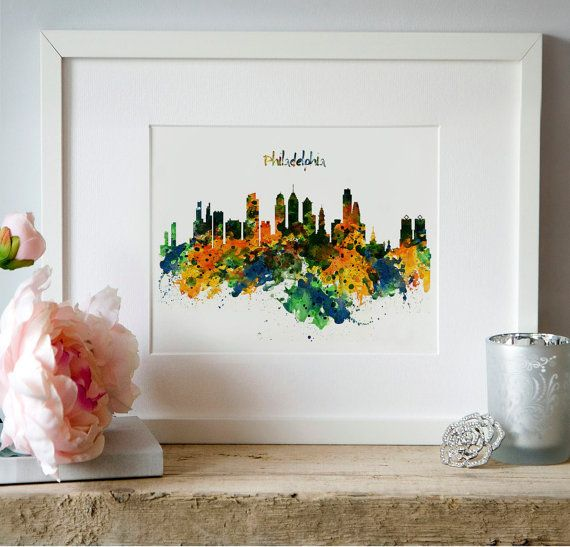 Philadelphia Watercolor Skyline Wall art  Instant by Artsyndrome