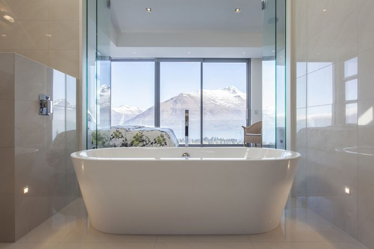Stunning mountain view from this bathroom designed by Murray Bennett from Murray Bennett Design Ltd #ADNZ #architecture #bathroom #view