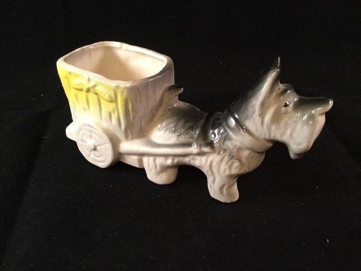 Vintage Scottie Dog and  Cart Ceramic Planter - Marked Japan