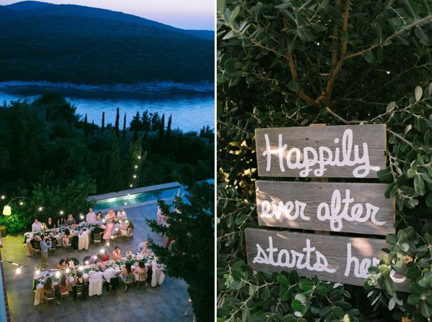 Garden themed wedding reception in Greece,  Kefalonia. Lights and Happily Ever After wooden sign. Photo by Adrian Wood