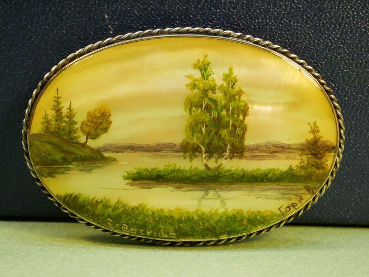 Vintage Folk Brooch Hand-Painted Scenery Fedoskino USSR Soviet Russia