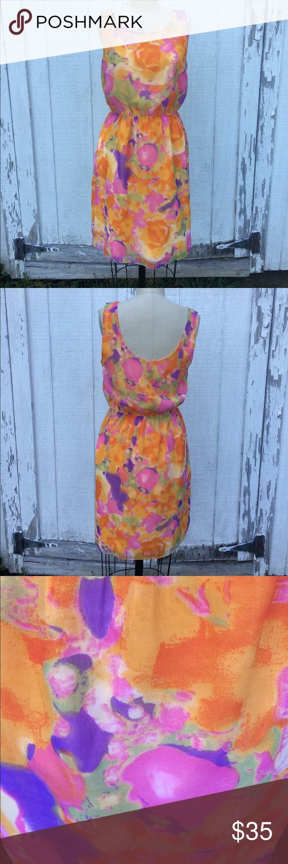 W118 by Walter Baker Dress Sz M W118 by Walter Baker Silky lined orange Floral Dress - Sz M. Has elastic waist. In excellent condition. W118 by Walter Baker Dresses Midi