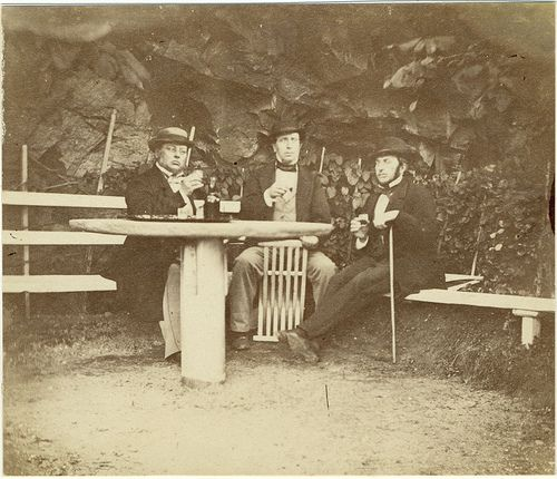 Three men in a cave, Lysekil, Sweden  Dr Gamelin from Orust, customs inspector Bundsen and dr Robert Nordwall in the cave of Bundsen. 1862