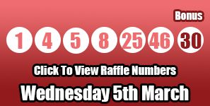 Here are tonight's Lotto raffle numbers for Wednesday 5th March, get the full draw information here: http://lottorafflenumbers.com/lotto-results-5th-march/