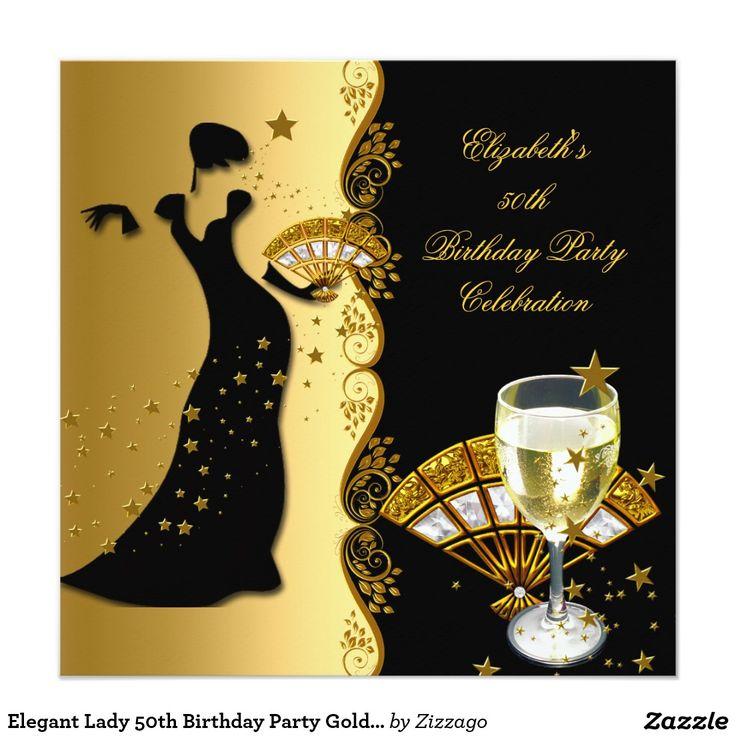 """50.o cumpleaños vino del negro del oro de la invitación 5.25"""" x 5.25"""""""