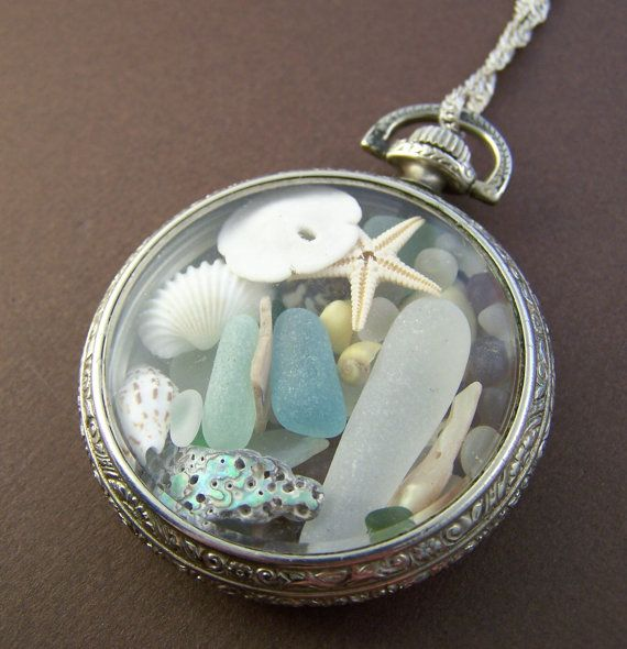 Sea glass locket pendant. Vintage pocket watch case filled with ocean treasures to make a stunning necklace. Stone Street Studio