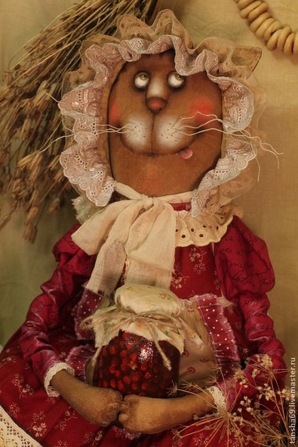 Купить Сладкоежка! - бордовый, текстильная игрушка, ароматизированная игрушка, интерьерная игрушка, кошка, ткань, синтепух