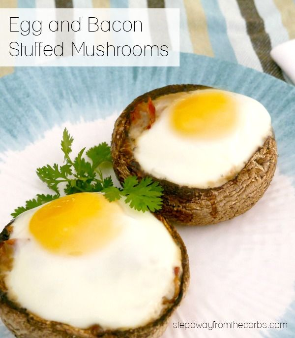 Egg and Bacon Stuffed Mushrooms - amazing low carb breakfast!!