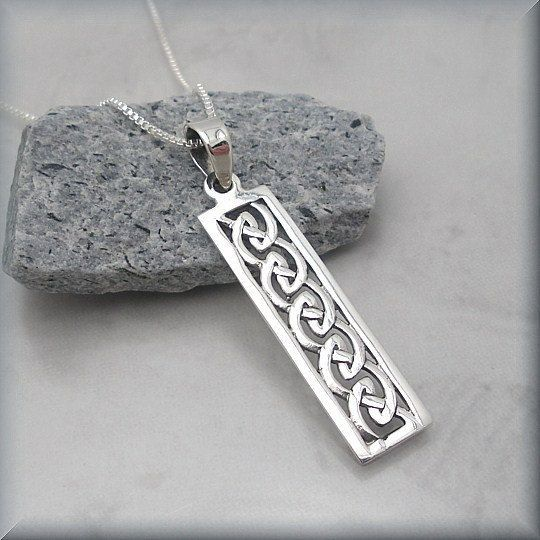 Celtic Knot Necklace Sterling Silver Bar Pendant Irish Jewelry Rectangle ...pinned by ♥ wootandhammy.com, thoughtful jewelry.