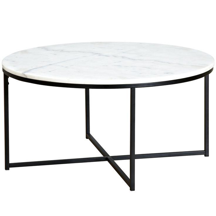 80cm Round White Siena Marble Coffee Table