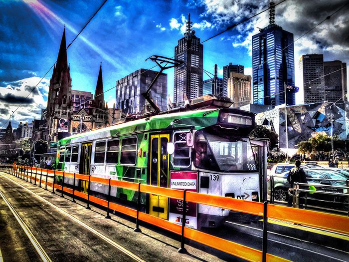 """""""MELBOURNE BY TRAM"""" LOCATION: Melbourne, VIC (AUSTRALIA)  DIMENSIONS: 610mm(w) x 508mm(h) / 813mm(w) x 610mm(h) MICHELLE GREEN GALLERY  © MICHELLE GREEN 2015"""