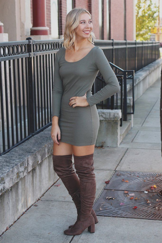 Olive Long Sleeve Round Neck Ribbed Knit Bodycon Dress – UOIOnline.com: Women's Clothing Boutique