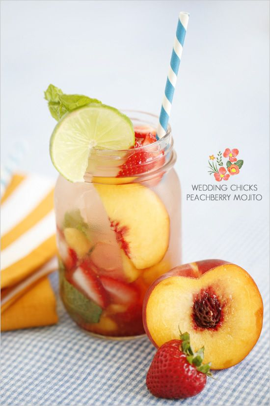 Our signature drink. (: Wedding Chicks Peachberry MojitoSignature Drinks, Peachberri Mojito, Peaches Mojito, Cocktails Ideas, Peaches Strawberries, Peaches Berries, Strawberries Mojito, Chicks Peachberri, Mason Jars