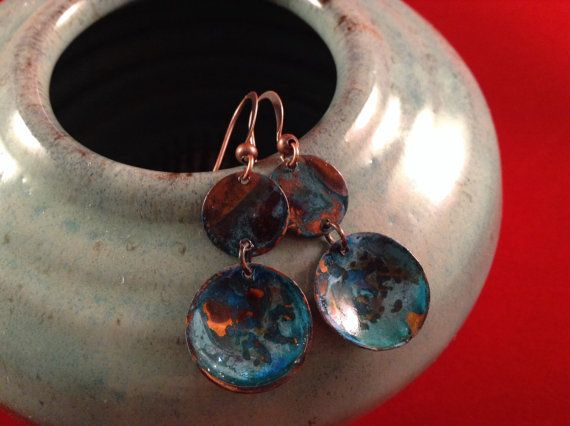 Unique copper patina earrings by ArtisanJewelryWorks on Etsy