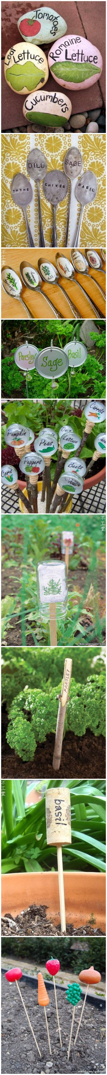 De jolies idées pour marquer les plantations dans le jardin - Cute garden markers.