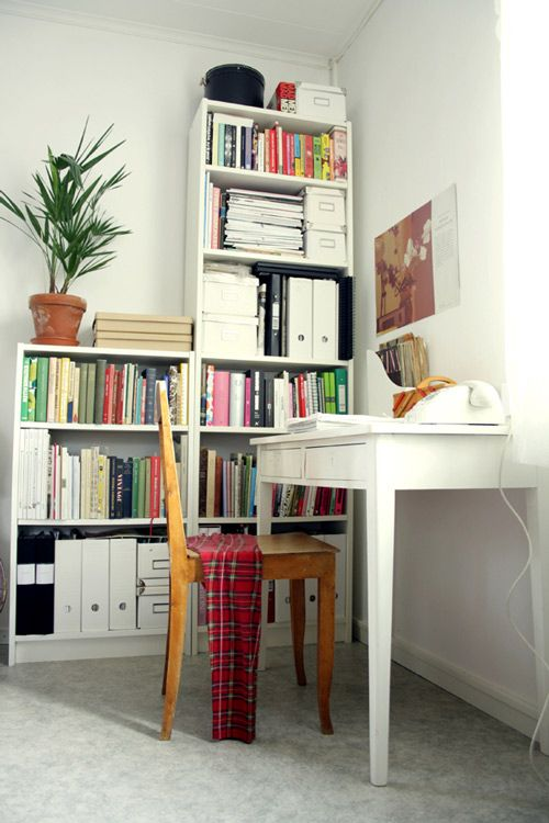 These bookshelves are good old Billys from IKEA. I've had them forever, and they're just as wobbly as you'd expect them to be.