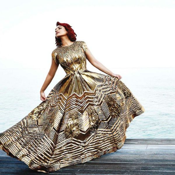 #SonakshiSinha showing off her gorgeous gown by  Amit Aggarwal at the magazine cover shoot of Harper's Bazaar
