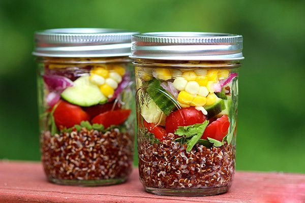Mediterranean Quinoa Salad with Summer Vegetables-added bibb lettuce and baby spinach