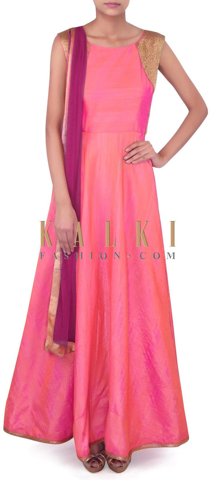 Pink anarkali suit with kardana embroidered armhole only on Kalki