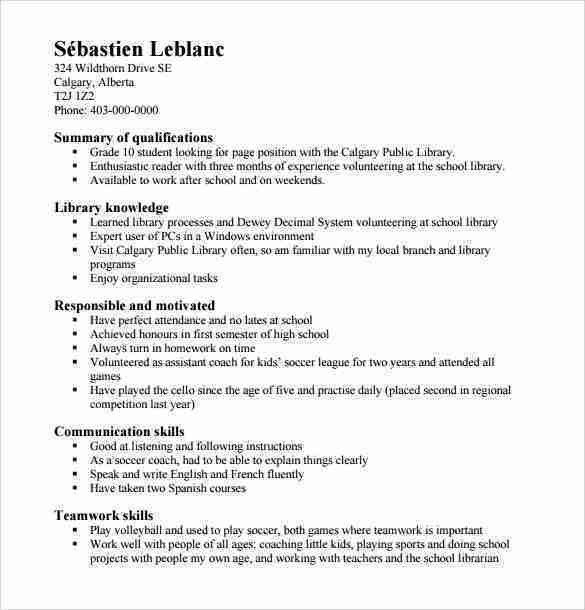 Highschool Resume Templates Free 6 Sample High School Resume