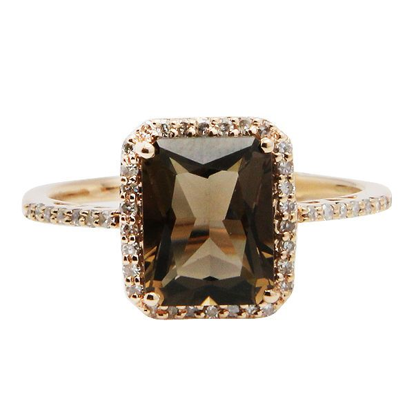 $903 14K ROSE GOLD PAVE DIAMOND & 2.05C SMOKY QUARTZ COCKTAIL ENGAGEMENT RING