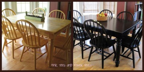 DIY kitchen table makeover Oooh if only we had one more chair that actually matched our table.