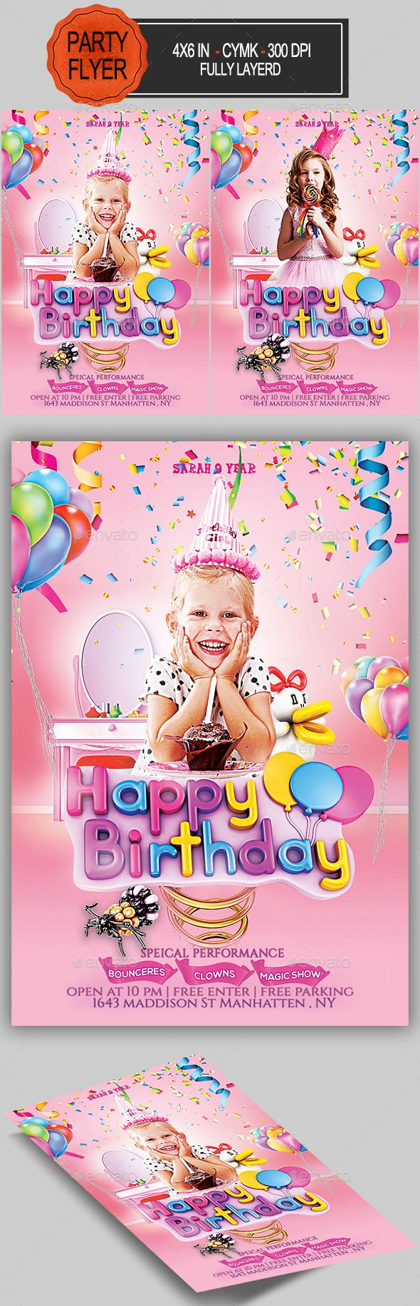 #Kids #Birthday #Party #Flyer #Template - #Clubs & #Parties #Events #design. Download here: https://graphicriver.net/item/kids-birthday-flyer/19891812?ref=yinkira