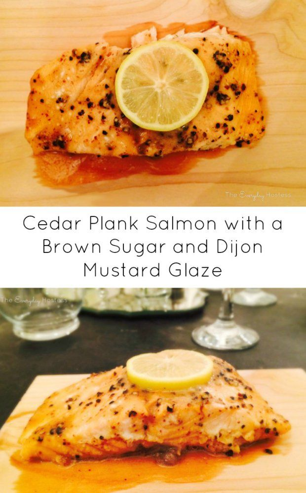 Cedar Plank Salmon with a Brown Sugar and Dijon Mustard Glaze - Super easy and can be made on a grill or oven!