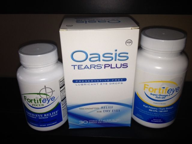 Oasis Tears Plus is the best lubricating eye drop for dry eyes on the market. It is also great at minimizing fine lines and wrinkles around the eyes.   It contains a natural anti inflammatory called hyluranic acid.  This helps decrease the symptoms of dry eyes and hydrate the skin around the eyes. You can get this at www.fortifeye.com  rub the excess into the peri orbital region.  This is preservative free!  Great stuff!