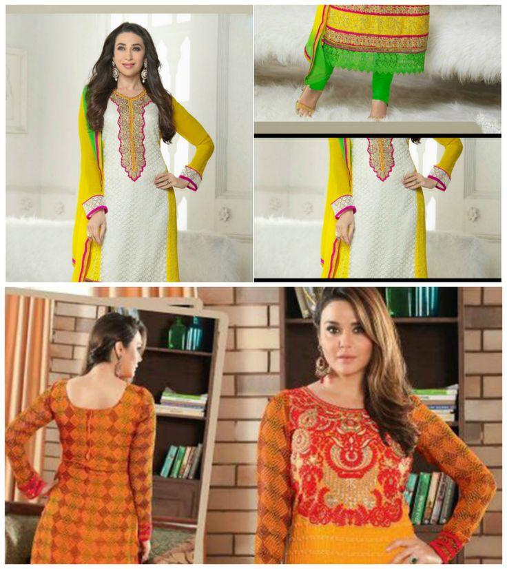 Add A #Adolescent Burst Of Shade To Your #Wardrobe With This White & Yellow Faux Georgette Super Net Salwar Kameez. The Lace Resham Stones Work Appears To Be Like #Chic And #Ideal For Any#Party. Call us at 09660660088 or Visit our site - www.daindiashop.com