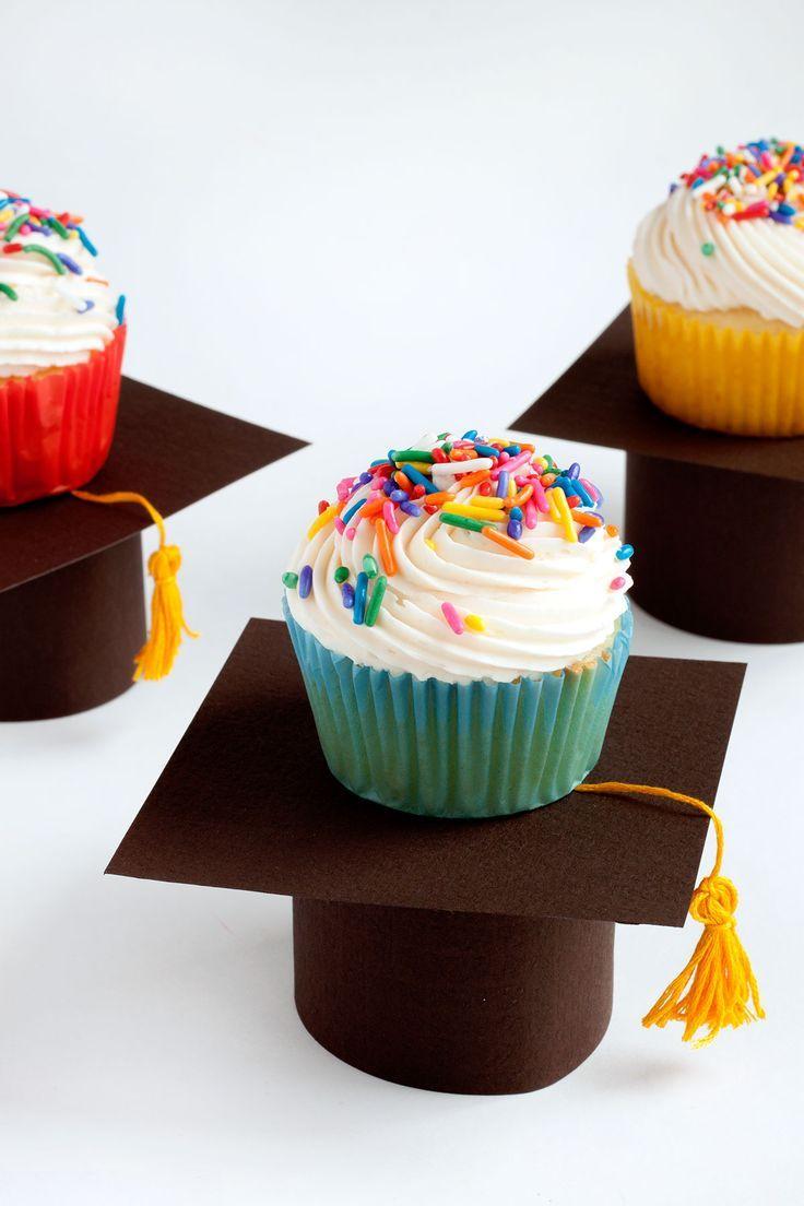 Graduation Cap Cupcake Stands- Paint the Gown Red   -  #DIYGraduationCandy #DIYGraduationCupcakes #DIYGraduationFans