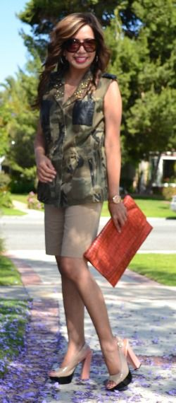 Camouflage top and khaki shorts for over 40 and also Mixed Prints