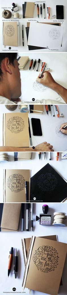 Aprende a crear tus propios cuadernos personalizados! www.thegreatmoustache.com