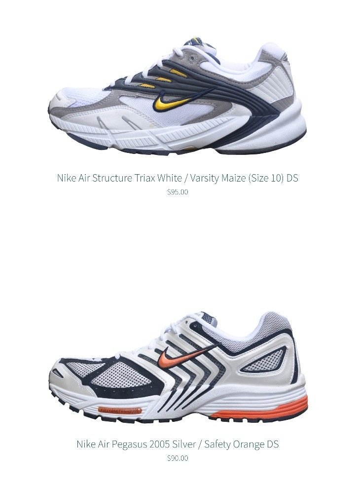 36cd784d7a95 Nike Air Structure Triax 2003 ds Nike Air Pegasus 2005 ds vintage sneakers  archive gallery rare brs 1000 kicks