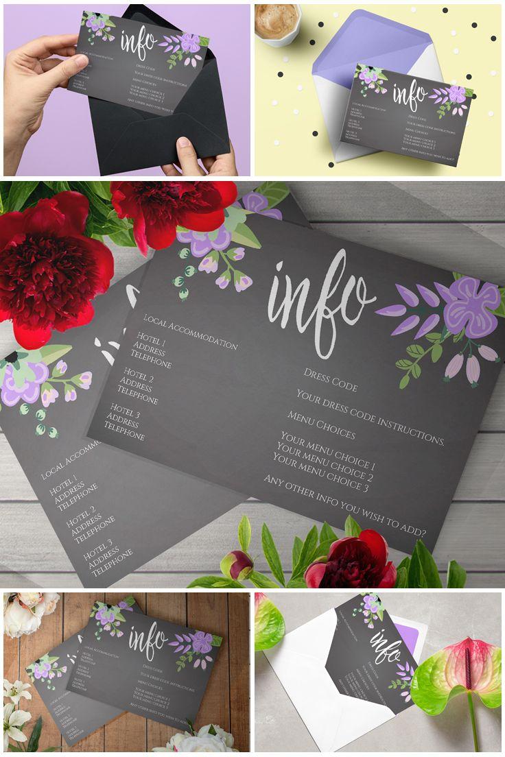 #Printable Lilac & Grey Floral #Chalkboard Wedding Invitation Suite  #prandski #weddingsuk #diyweddings #weddingsuite